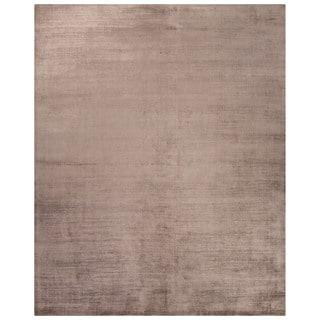 Luxury Solid Pattern Taupe/Tan Art Silk Area Rug (9' x 12')