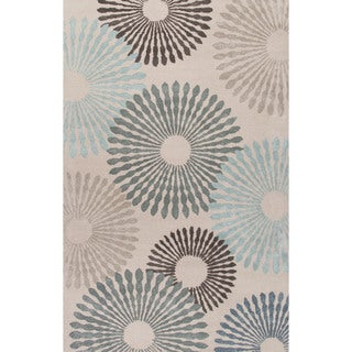 Contemporary Coastal Pattern Blue Wool and Art Silk Area Rug (2' x 3')