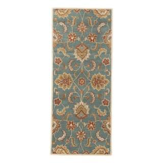 Classic Oriental Pattern Blue/Yellow Wool Area Rug (2'6 x 6')