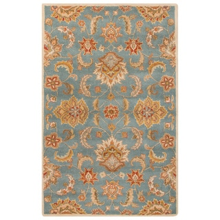 Classic Oriental Pattern Blue/Yellow Wool Area Rug (4' x 8')