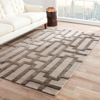 Contemporary Trellis, Chain And Tile Pattern Gray Wool and Art Silk Area Rug (2' x 3')