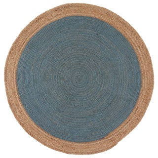 Orbit Natural Bordered Blue/ Beige Area Rug (6' X 6') - 6' x 6'