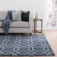 Camden Handmade Trellis Blue/ Silver Area Rug (2' X 3')