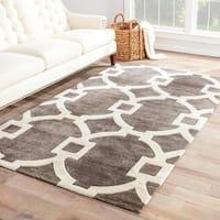 Bronx Handmade Trellis Dark Gray/ White Area Rug (12' X 15')