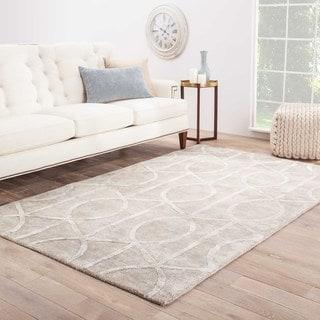 Savoy Handmade Trellis Gray/ White Area Rug (12' X 15')