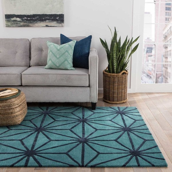 Oakland Handmade Trellis Green/ Dark Blue Area Rug (2' X 3')