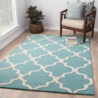 Contemporary Trellis, Chain And Tile Pattern Blue/Ivory Wool Area Rug (12' x 15')