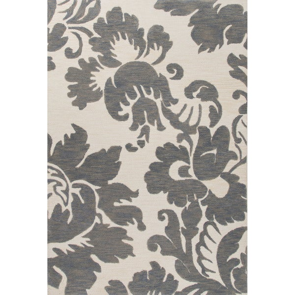 Shop Contemporary Damask Pattern Gray Ivory Polyester Area