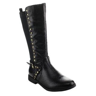 EDDIE MARC 6212 Girl's Half Stretch Side Zipper Studded Knee High Riding Boots
