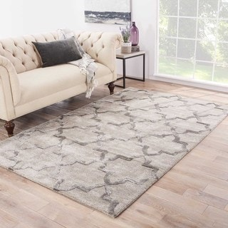 Contemporary Trellis Chain And Tile Pattern Gray Wool And