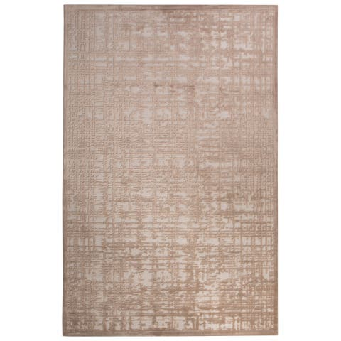 Echo Abstract White/ Tan Area Rug - 2' x 3'