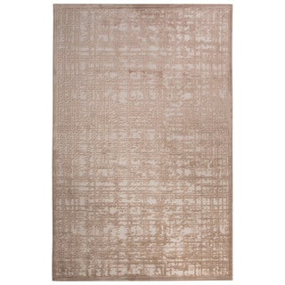 Contemporary Abstract Pattern Ivory/Beige Rayon Chenille Area Rug (2' x 3')