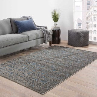 Contemporary Abstract Pattern Blue/Gray Rayon Chenille Area Rug (2' x 3')