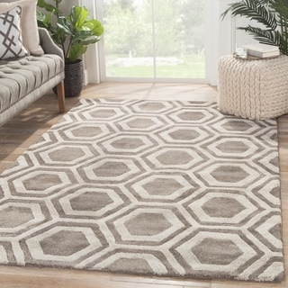 Contemporary Tribal Pattern Dark Gray Wool and Art Silk Area Rug (9'6 x 13'6)