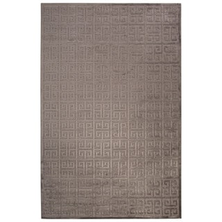 Contemporary Trellis, Chain And Tile Pattern Gray Rayon Chenille Area Rug (2' x 3')