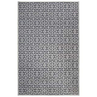 Contemporary Trellis, Chain And Tile Pattern Blue/Gray Rayon Chenille Area Rug (2' x 3')