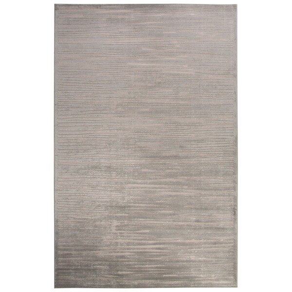 Raya Abstract Silver/ White Area Rug - 2'x3'
