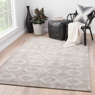 Contemporary Tribal Pattern Gray Rayon Chenille Area Rug (2' x 3')