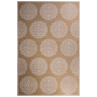 Contemporary Medallion Pattern Ivory/Tan Rayon Chenille Area Rug (2' x 3')