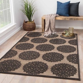 Contemporary Medallion Pattern Gray/Black Rayon Chenille Area Rug (2' x 3')