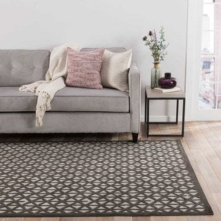 Contemporary Trellis, Chain And Tile Pattern Gray/Black Rayon Chenille Area Rug (2' x 3')