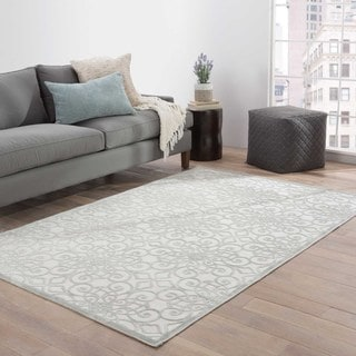 Contemporary Trellis, Chain And Tile Pattern Ivory/Gray Rayon Chenille Area Rug (2' x 3')