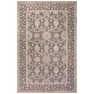 Classic Oriental Pattern Gray/Tan Rayon Chenille Area Rug (2' x 3')