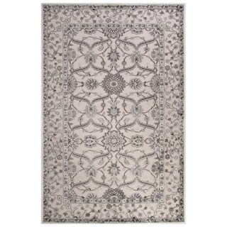 Classic Oriental Pattern Ivory/Gray Rayon Chenille Area Rug (7'6 x 9'6)