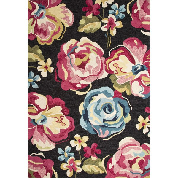 Contemporary Floral & Leaves Pattern Black/Pink Polyester