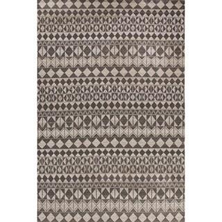 Flatweave Tribal Pattern Black/Gray Wool Area Rug (2' x 3')