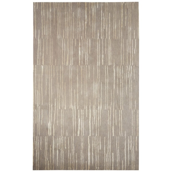 Handmade Abstract Gray Silver Area Rug 8 X 10
