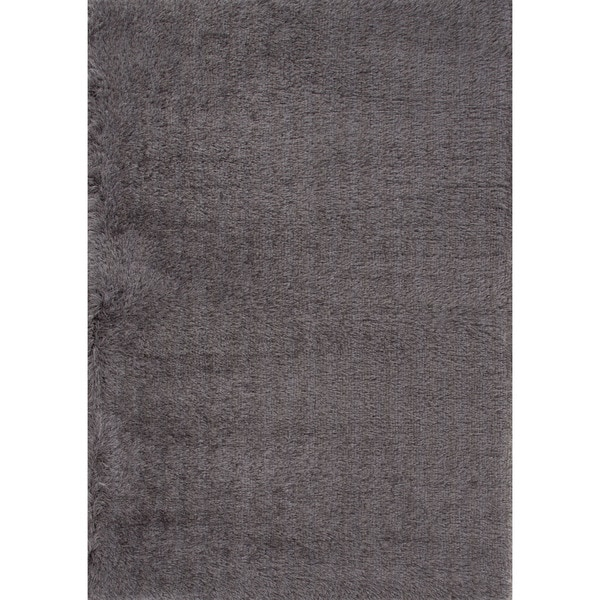 Shag Solid Gray/ Silver Area Rug (2' X 3')