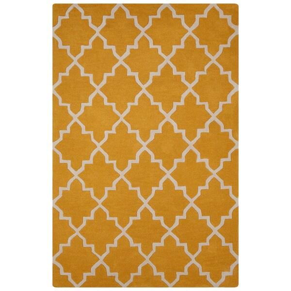 Handmade Geometric Yellow Gold Area Rug 8 X