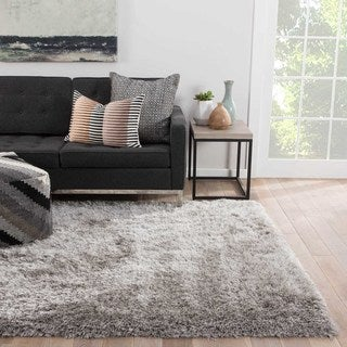 Shag Solid Pattern Gray Polyester Area Rug (8' x 10')