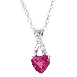 H Star Sterling Silver Created Pink Sapphire and Diamond Accent Pendant Necklace