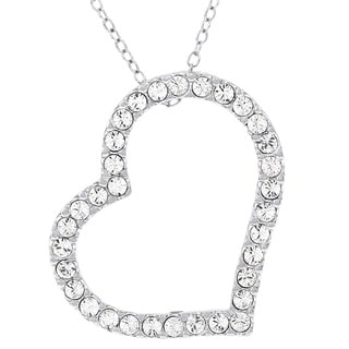 H Star Sterling Silver Crystal Heart Pendant Necklace