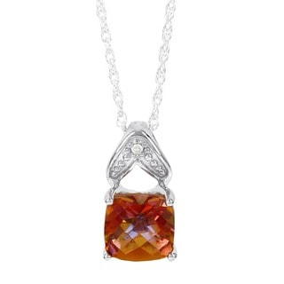 H Star Sterling Silver Sunset Topaz and Diamond Accent Pendant