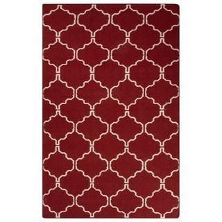 Handmade Geometric Red Area Rug (9' X 12')