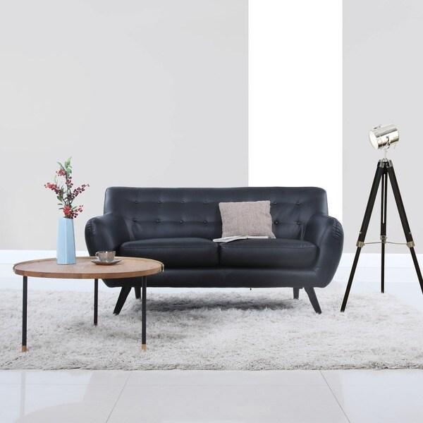 Mid Century Modern Bonded Leather Living Room Sofa Camel: Shop Mid Century Modern Bonded Leather Loveseat Living
