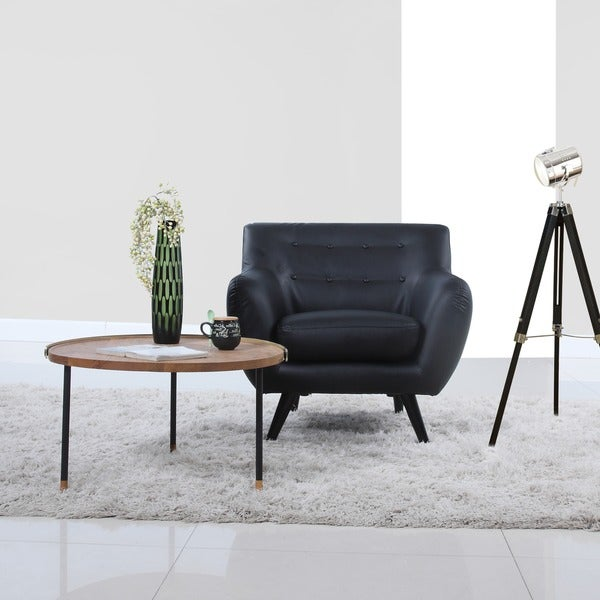 Mid century modern bonded leather accent living room chair for Mid century modern living room chairs