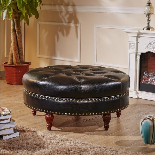 Castillian Premium Selcted Black Faux Leather Round