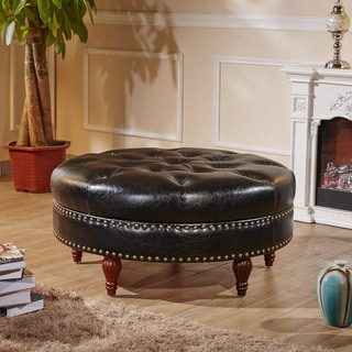 Castillian Premium Selcted Black Faux Leather Round Ottoman Bench with Nailhead trims
