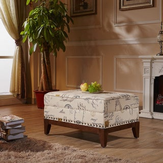 Castillian Premium Selcted Script Pattern Ottoman Bench with Nailhead trims