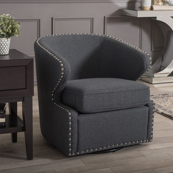 Baxton Studio Finley Mid Century Modern Grey Fabric Upholstered Swivel  Armchair