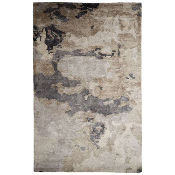 Mudra Handmade Abstract Gray/ Silver Area Rug (2' x 3')
