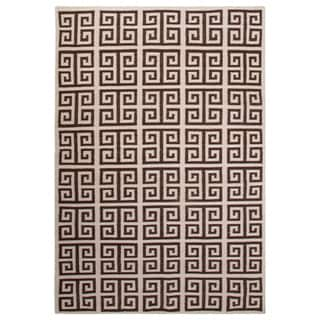 Flatweave Trellis, Chain And Tile Pattern Ivory/Brown Wool Area Rug (2' x 3')