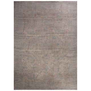 Classic Damask Pattern Gray/Blue Polypropylene Area Rug (9' x 12')