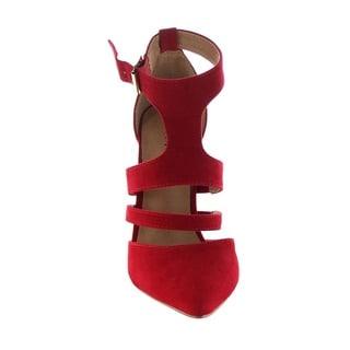 BONNIBEL BA98 Women's Pointed Toe-closed Back Ankle Strap Stilettos Dress Pump