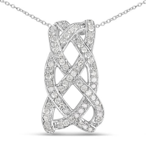 Olivia Leone Sterling Silver 3/5ct TGW White Diamond Pendant