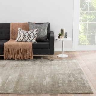Luxury Solid Pattern Taupe/Tan Art Silk Area Rug (9' x 12')